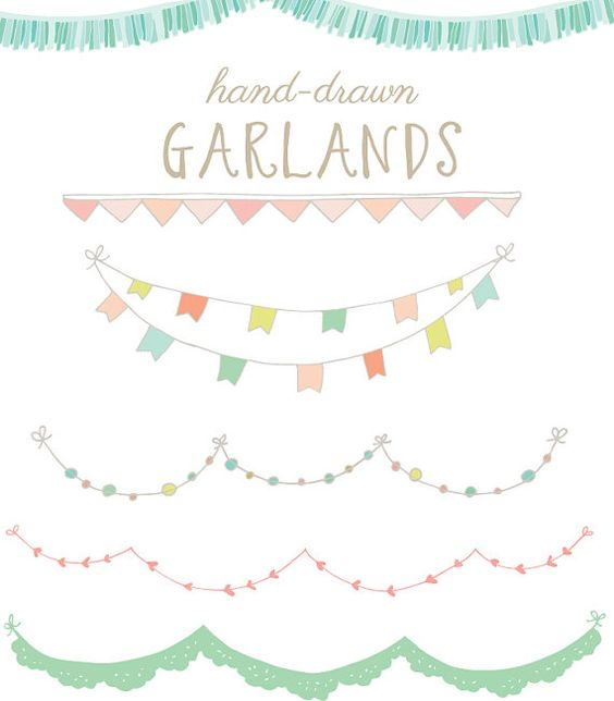 Clip Art Bunting Clipart clip art hand drawn garlands bunting flags 44 images for 6 angie