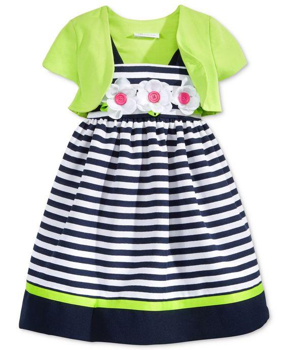 Bonnie Jean 2-Pc. Stripe Dress & Shrug Set, Toddler Girls (2T-4T) & Little Girls (2-6X)