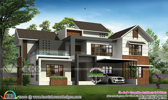 Modern Sloped Roof 4 Bedroom House Architecture Kerala Home Design Kerala House Design Architecture House Roof Architecture