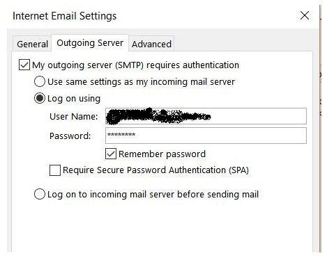 Suddenlink.net Email Server Settings - Outgoing Server tab