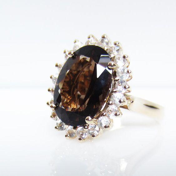 Large smokey Quartz surrounded by white Sapphires 14k gold Princess Kate ring by ENCI via Etsy $1650.00