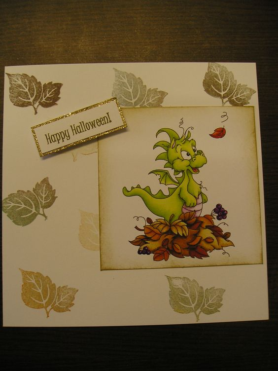 Just stamped some leaves on this card to blend in with leaves underneath this cute little Dragon! Lovely Autumn feel to the card and suitable for Halloween! http://bkcraftsupplies.ie/