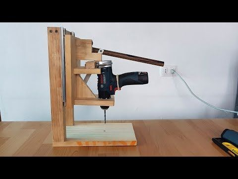 Make A Homemade Drill Press Stand Diy Homemade Drill Press Youtube Taladro De Banco Casero Soporte Para Taladro Maquinas Para Madera