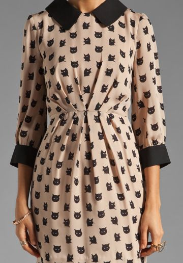 MILLY Kitty Cat Print Esther Combo Dress