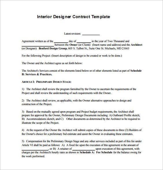 7 Interior Designer Contract Templates Pdf Doc Contract