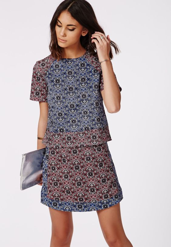Contrast Paisley Print A Line Mini Skirt - Skirts - A Line Skirts - Missguided