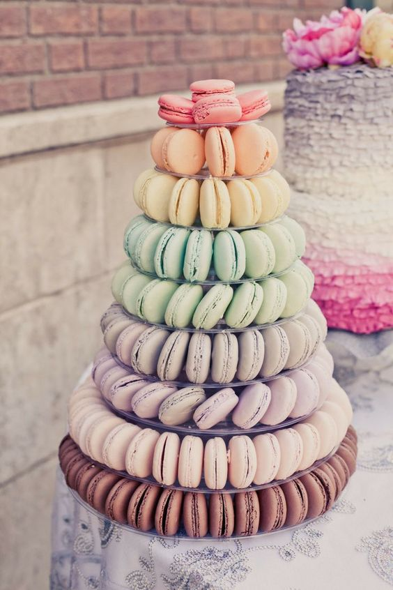 Ombre inspired macaroon wedding tower. Image: OneLove Photography via Style Me Pretty: