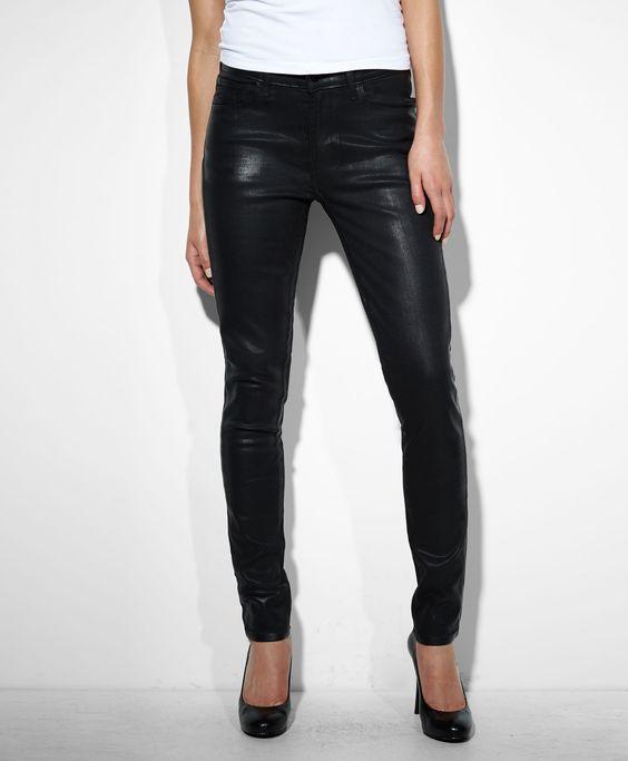 shiny black skinny jeans - Jean Yu Beauty