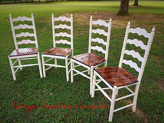 Repurposed ladder back chairs by Vintage Southern Creations