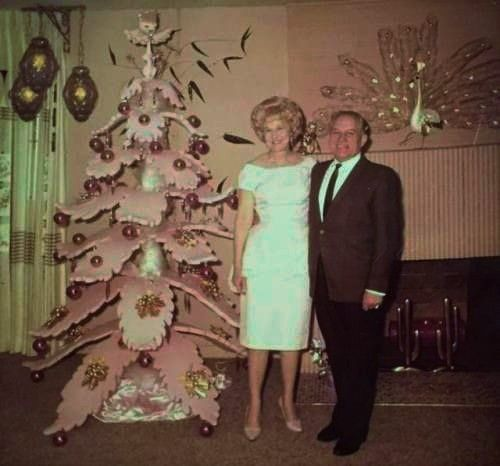 Christmas Pink Wooden Tree In Florida C 1960 S Vintage Christmas Dress Pink Christmas Vintage Christmas Decorations