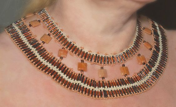 Karnak - OOAK hand beaded necklace £95.00
