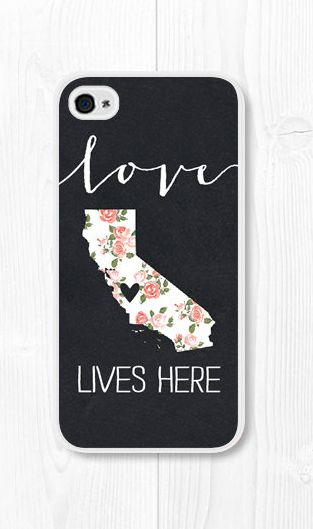 Black Customized State Map iPhone Case