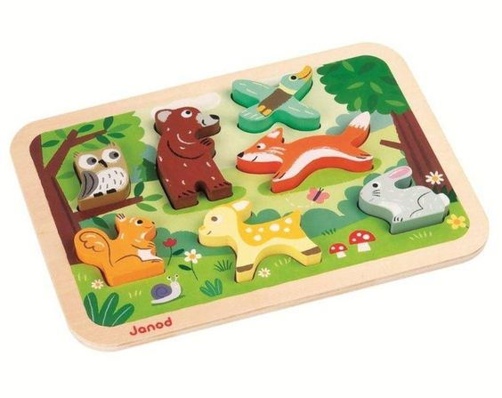 Janod Steckpuzzle aus Holz Tiere im Wald