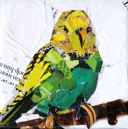 Green Parakeet, 4x4 Collage, painting by artist Carmen Beecher