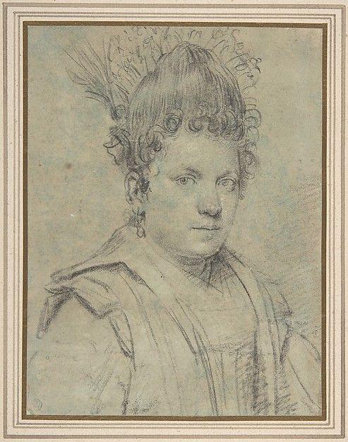 Portrait of a Woman. Artist: Attributed to Ottavio Leoni (Il Padovano) (Italian, Rome 1578–1630 Rome) Date: n.d. Medium: Black chalk on blue paper (now faded) Dimensions: sheet: 7 1/2 x 5 3/4 in. (19.1 x 14.6 cm)