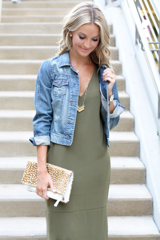 Love the Jean jacket the color and fit of the dress the fact
