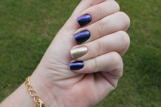 Esmalte da Semana - Azul com Dourado ~ Espia Lá