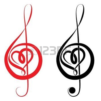 cle de sol: Coeur de clef triple et basse love music valentine illustration vectorielle d'une journée