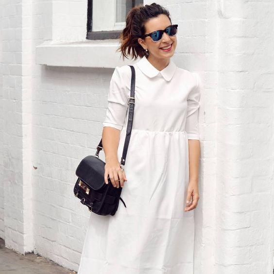 Look noir & blanc du jour : robe @thewhitepepper shoppée en Soldes, solaires @wolfnoirsun et sac PS11 @proenzaschouler