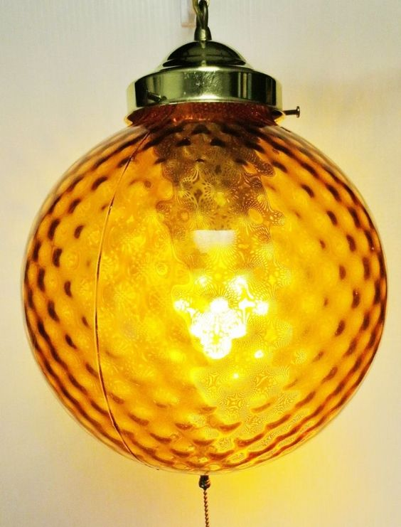 Mid Century Optic Amber Glass Globe Hanging Pull Chain Length Electric Lamp