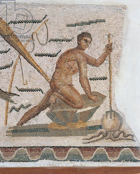 Tunisia, Dougga, Mosaic depicting octopus fishing: