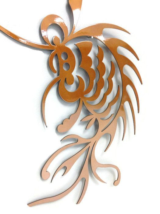 Japanese koi fish metal wall art silver or caramel copper for Koi carp wall art