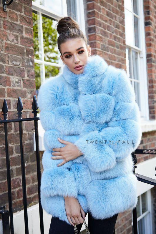 Lola Baby Blue Fox Fur Coat With Collar Fox Fur Coat Fur Coat Blue Fur Coat