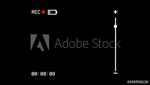 The Screen Of A Vhs Vcr Recorder Showing An Empty Battery Symbol Black Background Use Overlay Or Key Clean Style Buy This Stock Illustration And Explore