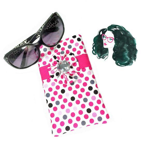 Polka Dot Eyeglass Case Pink Eyeglass Case by SEWsationalStitches