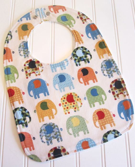Toddler Bib/1224 mo./Jungle Elephants/Organic by SweetbugStudio, $12.50