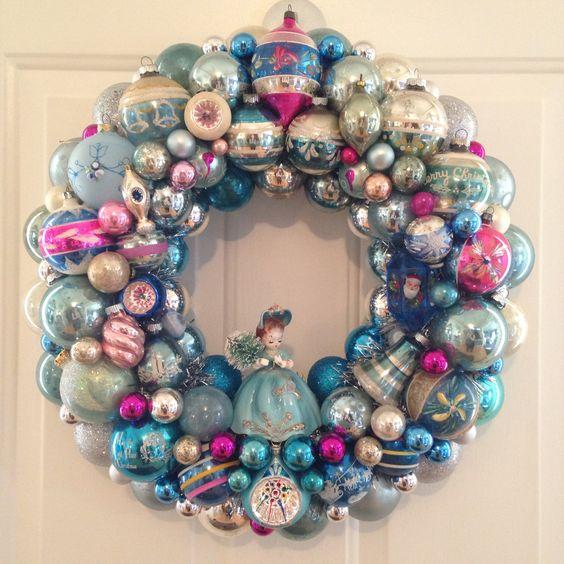 Chic Aqua and Pink vintage ornament wreath by SugarPlum Wreaths