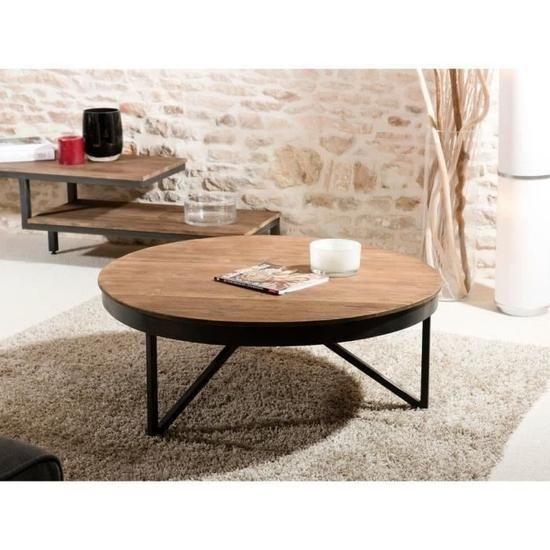 Table Basse Ronde Style Industriel En Bois Teck Pieds En Metal
