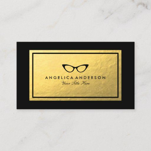 Faux Gold Frame Optometrist Business Card Zazzle Com Printing Double Sided Gold Frame Optometrist