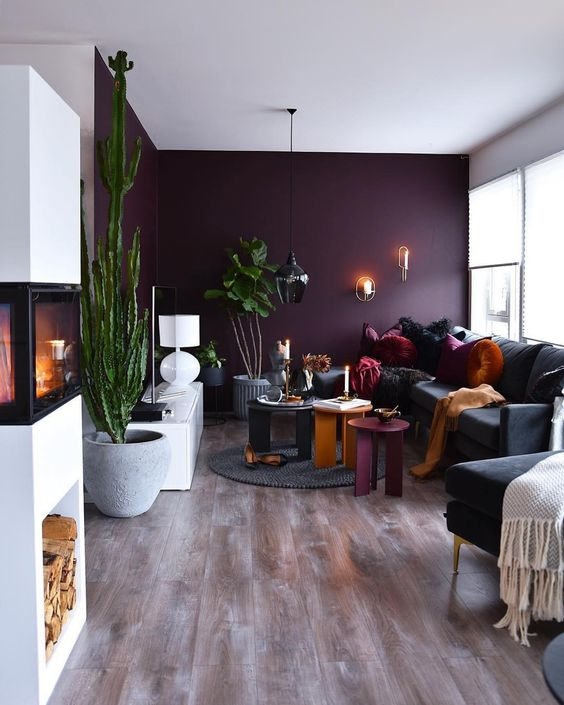 Loving This Velvet Plum Accent Wall By Marenbaxter Housebeautifuldecor A Purple Walls Living Room Living Room Wall Color Accent Walls In Living Room #purple #accents #for #living #room