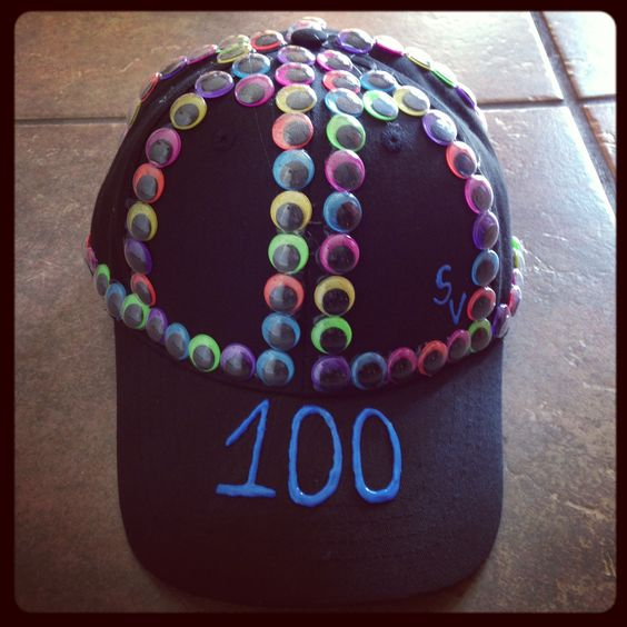 Michael 39 s 100th day of school hat second grade february for 100th day of school decoration ideas