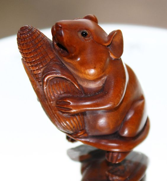 Japanese Wooden Mouse Holding Corn Netsuke Hand Carved Ornament Pendant  (c1920s) by GillardAndMay on Etsy