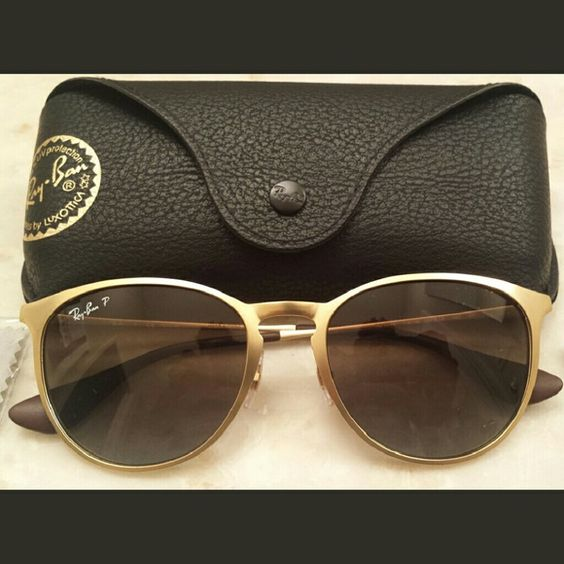 ray ban gold glasses  nwt ray ban erika matte gold sunglasses polorized brand new, never worn ray