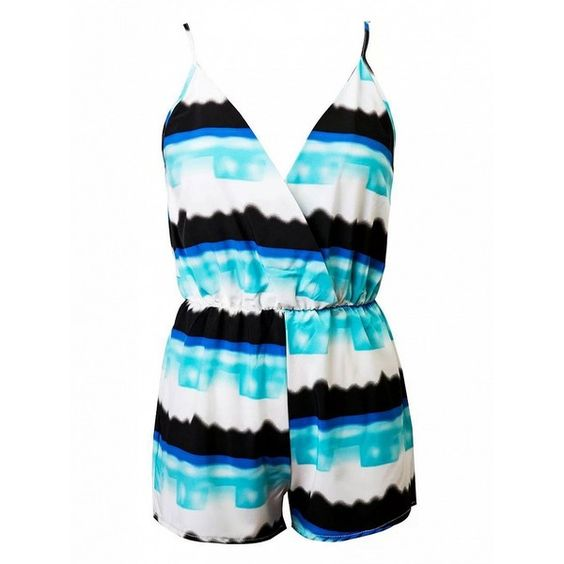 Choies Tie Dye Wrap V-neck Spaghetti Strap Romper Playsuit ($20) ❤ liked on Polyvore featuring jumpsuits, rompers, purple, purple romper, tie-dye rompers, tie dye romper, wrap romper and playsuit romper