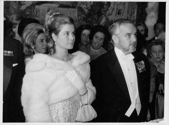 Vintage photo of Grace standing with her husband Rainier III