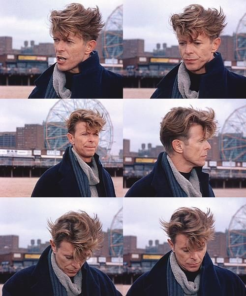 David Bowie. Even in a wind he has the best hair!