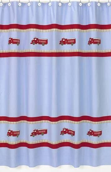 Sweet Jojo Designs Firetruck Shower Curtain (ShowerCurtain-Firetruck) #tinytotties