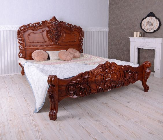 Barock Bett Antik Louis XV Mahagoni Massivholz 180 cm Polsterbett - italienische schlafzimmer katalog