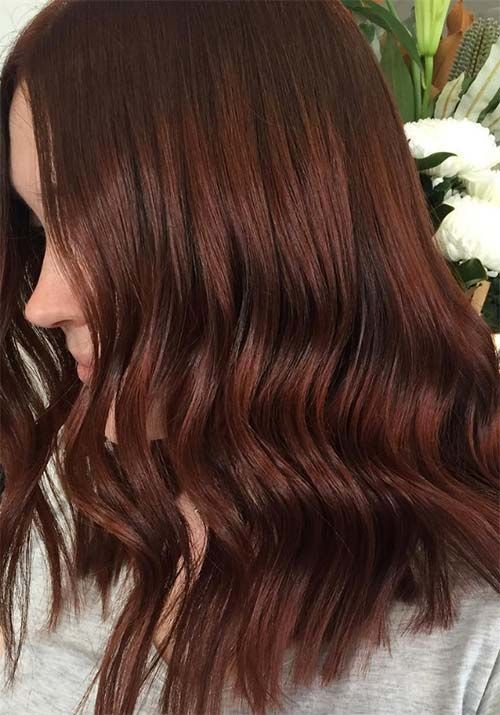 Hair Color Ideas For Brunettes Solid Color Ideas Brunettes Solid Hair Color Hair Color Ideas For Bru In 2020 Deep Red Hair Brunette Hair Color Burgundy Hair