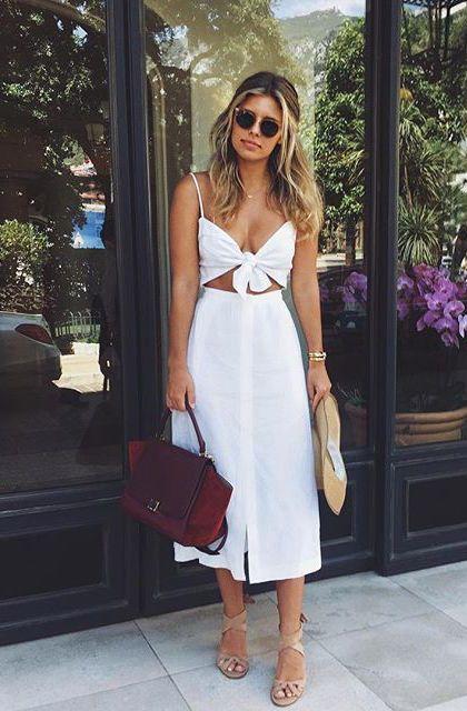 blusa com amarração My style Fashion verão Summer style Summer outfit ideas Cute outfits