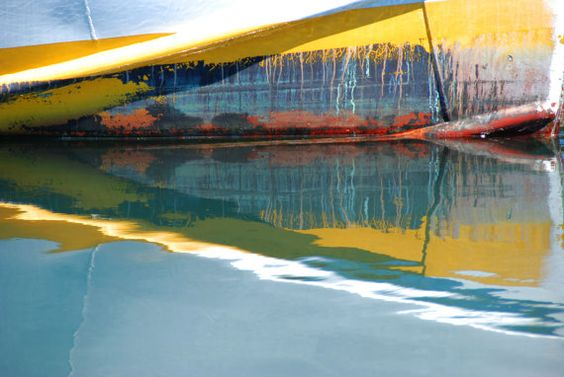 Abstract Boat Reflection Bright Colors by PhotosbyBethSummer