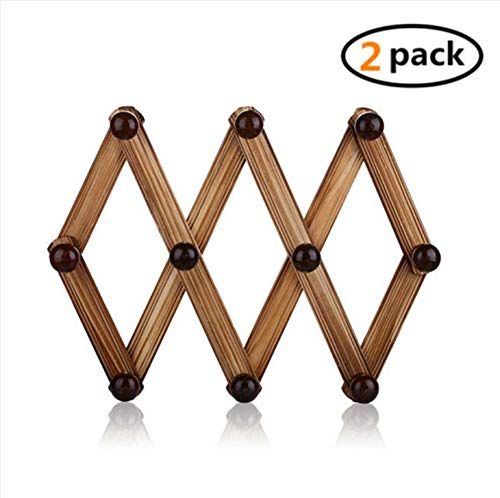 Kingbuy 10 Pegs Wooden Hook Wall Mounted Expanding Storage Rack Expandable Wood Hook Peg Rack Accordion St Wooden Coat Rack Wall Mounted Coat Rack Storage Rack