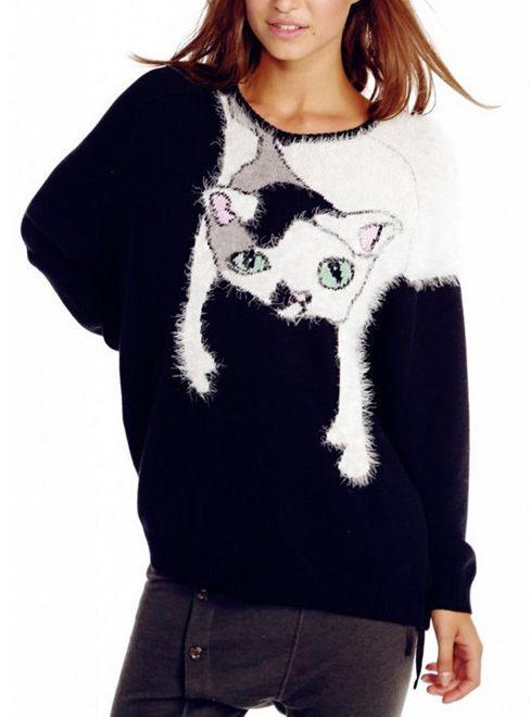 Cat Pattern Fuzzy Black Sweater