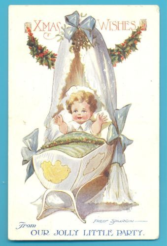 XMAS WISHES FROM OUR JOLLY LITTLE PARTY.FRED SPURGIN POSTCARD POSTED 1920 | eBay: