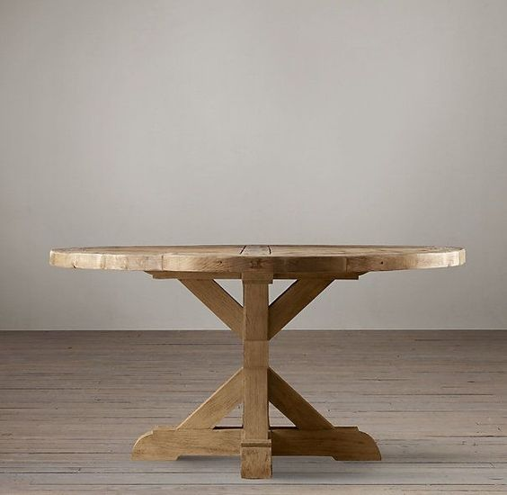 Salvaged Wood X Base Dining Table Round All Wood