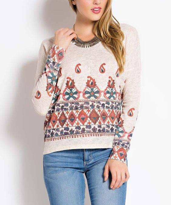 Oatmeal & Red Geometric Long-Sleeve Top